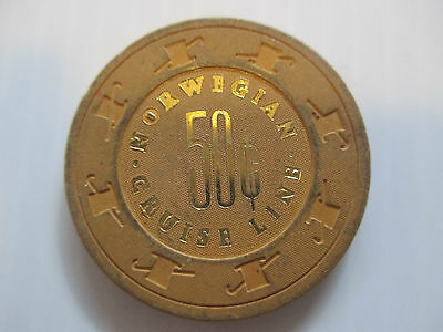 $0.50 Norwegian Cruise Ship Casino Chip--Wet Chip FREE SHIPPING