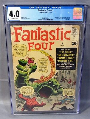 FANTASTIC FOUR #1 (Origin & 1st app of team) CGC 4.0 VG Marvel Comics 1961