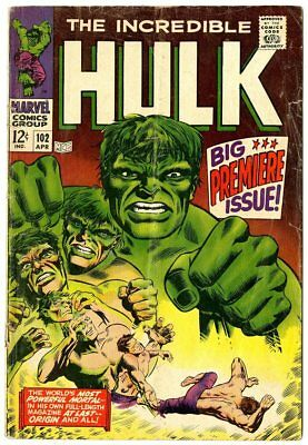 Hulk #102 (#1) G+ 2.5 ow/white pages  Marvel  1968  No Reserve