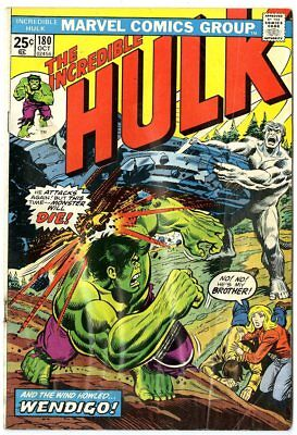 Hulk #180 G/VG 3.0 ow/white pages  1st brief app. Wolverine  Marvel  1974