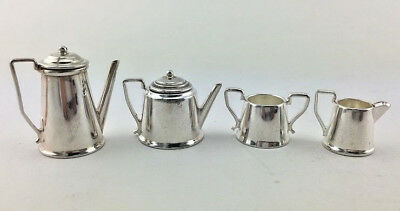 Solid Silver 4 Piece Antique Style Miniature Doll House Tea Coffee Pot Sugar Set