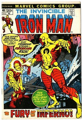 Iron Man #48 VF/NM 9.0 ow/white pages  vs. Firebrand  Marvel  1972  No Reserve