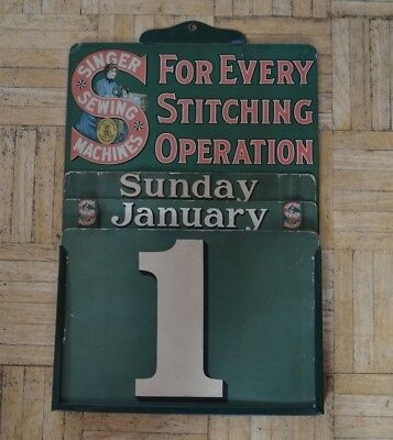 Early 1900's Metal Singer Sewing Machine Wall Calendar Advertising