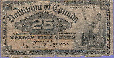 Canada-Dominion 25 Cents Banknote,1900 Good Condition Cat#9-A-1234
