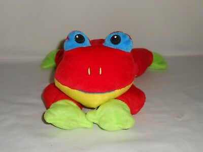 Retired 1998 TY Plush Pillow Pal Red and Green Frog Ribbit
