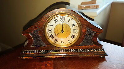 Vintage Swiss Movement 8 Day Working Mantle Clock / Roman Numerals