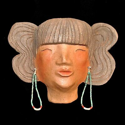 Micaceous Clay Maiden Mask w/Earrings by Dawning Pollen Shorty of Taos Pueblo