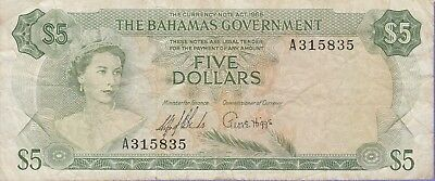 Bahamas 5 Dollars Banknote,1965 Fine Condition,Cat#20-A-5835