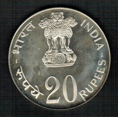 India 20 Rupees 1973 FAO Silver Proof