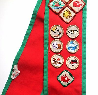 Vintage Canadian Boy Scout Sash with Badges part of Uniform Lot Red Green