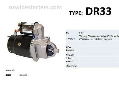 Mercruiser/ Volvo Penta starter to suit reverse(CCW) rotation engines