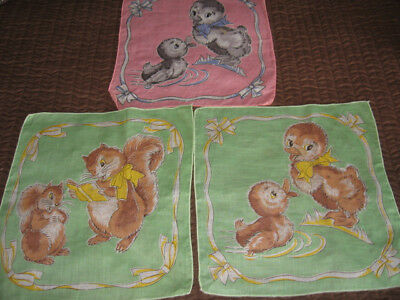 Lot 3 Vintage CHILDREN'S HANKIES - DUCKS AND SQUIRRELS - PINK AND GREEN-Adorable
