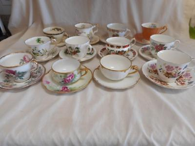 Vintage Lot 18 Tea Cups & Saucers Fine Porcelain Bone China Sets
