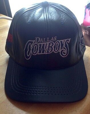 Cowboys Nfl Dallas Cap/hat Genuine Leather, Adjustable Size,new No Tags,usa Made