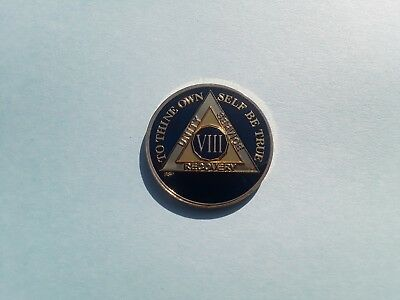 AA Midnight Blue & Gold 8 Year Coin Alcoholics Anonymous Medallion Sobriety Chip
