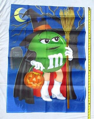 Green M & M Candy Large Halloween Garden Flag by Willabee & Ward 2009