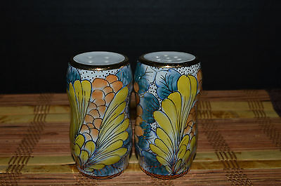 "Iridescent Orange Blue Yellow Floral Salt and Pepper Shakers Set 3 1/4""x1 3/4"""