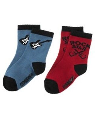 NWT 2-3 Years Gymboree ROCK ON 2 Pack Star Guitar Red Blue Socks