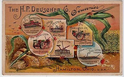 EARLY TRADE CARD FOR THE H. P. DEUSCHER Co. farming IMPLEMENTS, HAMILTON, OHIO