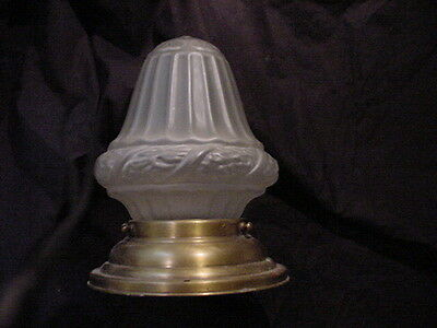 Elegant Antique Original Brass Ceiling Light Fixture & Frosted Glass Shade