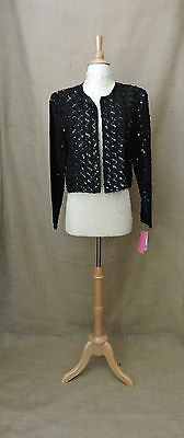 Vintage COCO of California Jacket Size 16 Black Sequin Beaded Long Sleeve 1980s