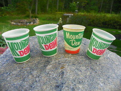 Mountain Dew Soda Wax Cup Set Of 4 Cups W/ Hillbilly Cup!