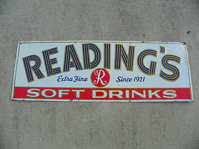 Reading Beverages Soda Tin Sign Reading Pa