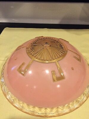 Antique Pink Glass 3 Hole Ceiling Light Globe Fixture (164)