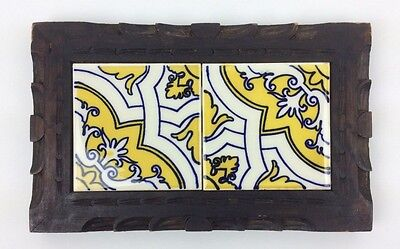 Vintage Mexican Tile Trivet Wood Hand Carved Traditional Blue & Yellow MI131