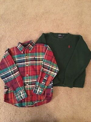 Polo Ralph Lauren Boys Size 7 Lot Of 2 Long Sleeve Shirts