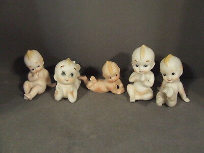 Lot Of 5 Small Bisque Kewpie Dolls From Japan