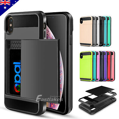 Apple iPhone X XS MAX XR 8 Plus Slide Card Pocket Shockproof Tough Case Cover