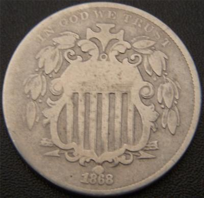 1868 Shield Nickel - Some Leaf and Shield Details Still Show