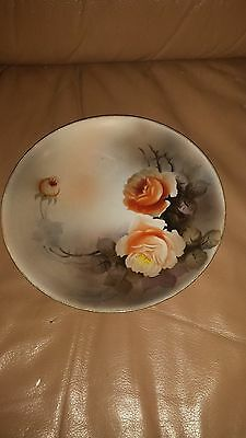 """Noritake 1918 """"m"""" Mark - Hand Painted Shaded Floral 7 3/4"""" Collector Plate"""
