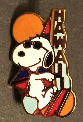 Vintage Aviva Quantasia Peanuts Snoopy Pin - Hawaii Windsurfing