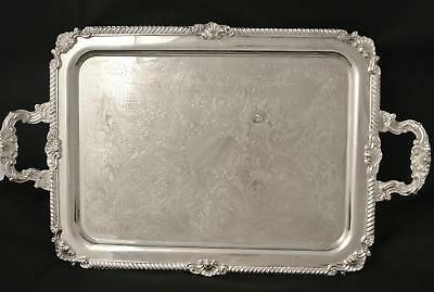 Silver Platee Silver On Copper 27 In Serving Tray Waiters Tray Shell And Scroll