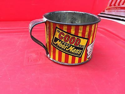 Old Vintage MoorMan's Tin Cow Feed Measuring Cup Advertising Sign Paper Label