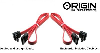 2 x SATA 3 III 3.0 Data Cable 6Gbps for HDD SSD with Angle and Lead Clip RED