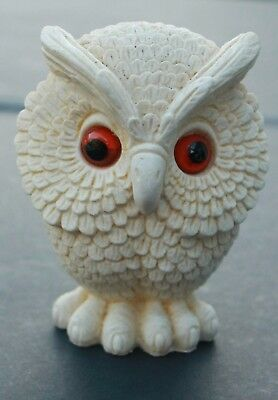 VTG Owl Off White Carved Figurine Classic Orange Glass Eyes Made in England