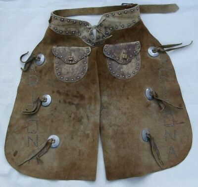 Antique Childs Leather Chaps with ARIZONA Designation Cowboy Rodeo