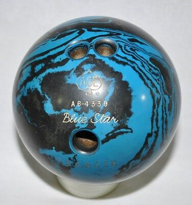 Ace Blue Star Vintage Used Bowling Ball 14 lb. Engraved Francie