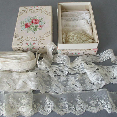"""Lot 10 Assorted Vintage French LACE Trims 7/8""""-2"""" Pretty FLORAL Wallpaper Box"""