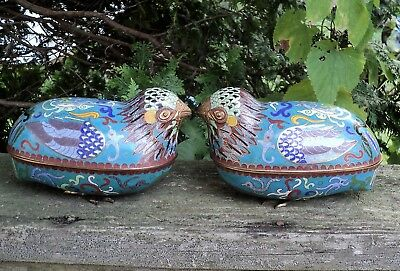 Antique Chinese CLOISONNE QUAIL Boxes Taotie Mask Turquoise Background Pair Nice