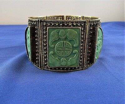 Antique Chinese filigree solid silver gilt carved turquoise bats bracelet