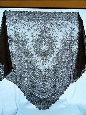 Antique Victorian black silk Chantilly lace shawl large