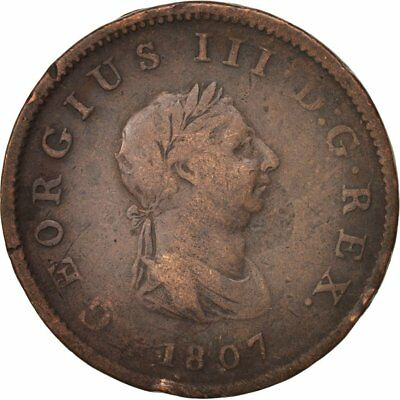 [#19591] Great Britain, George III, 1/2 Penny, 1807, VF(30-35), Copper, KM:662