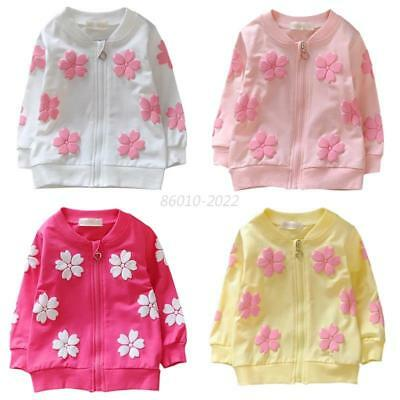 Fashion Baby Kids Girls Flowers Zipper Coat Jacket Tops Outwear Outfits Clothes