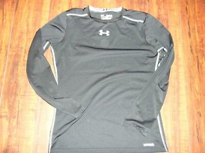 YOUTH Under Armour Heat Gear Fitted Long Sleeve Shirt Black Size YXL