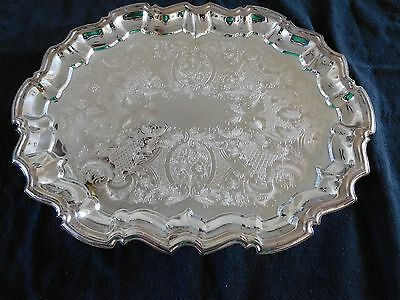 """LEONARD SILVERPLATED FOOTED OVAL TRAY Etched Scalloped Edge 14 1/2"""" x 11 1/4"""""""