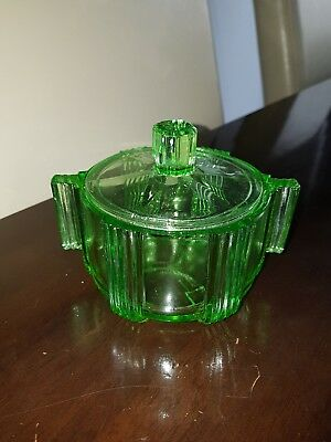 DEPRESSION GLASS green uranium sugar bowl art deco